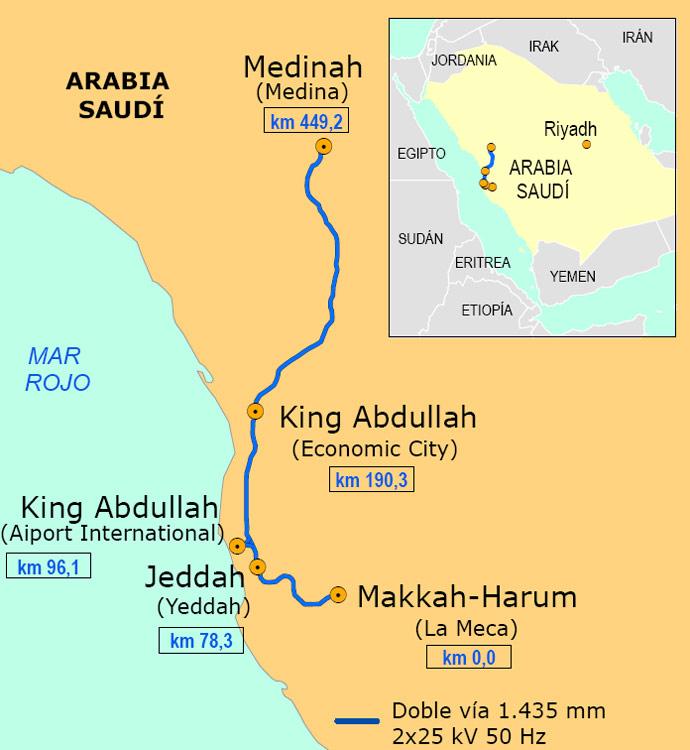 Doce empresas españolas, a punto de adjudicarse el AVE Medina-La Meca 7526 mapa