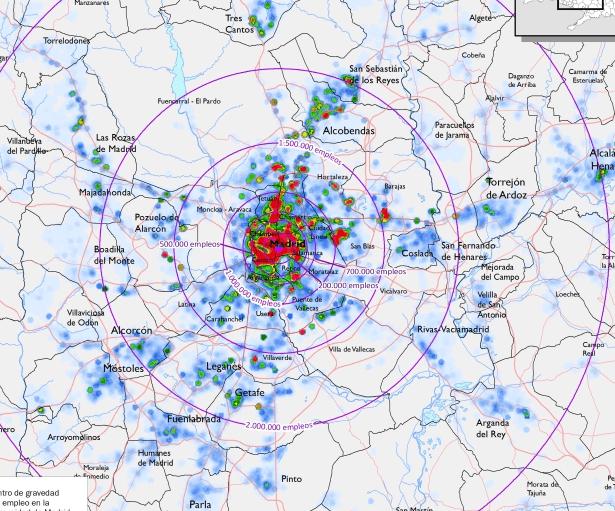 Distribución del empleo en el área metropolitana de Madrid  <em><center>Smog Madrid</em></center> movilidad1 2